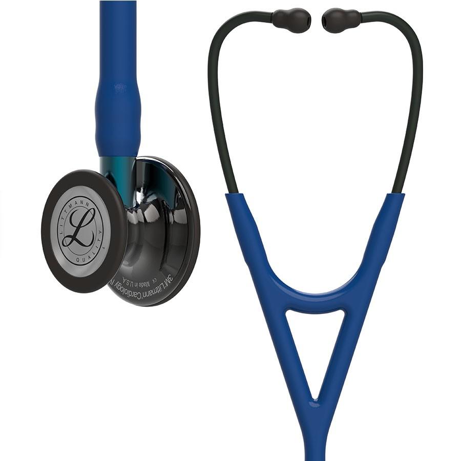 Stetoskop 3M™ Littmann® Cardiology IV™  High Polish Smoke-Finish, przewód granatowy, lira czarna, trzonek niebieski + Oryginalne Etui 3M™
