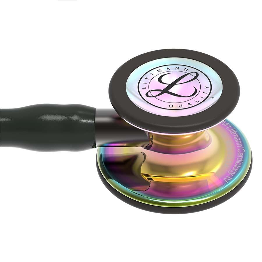 Stetoskop 3M™ Littmann® Cardiology IV™, High Polish Rainbow-Finish, przewód czarny, trzonek smoke, lira smoke + Oryginalne Etui 3M™