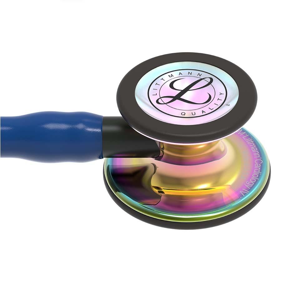 Stetoskop 3M™ Littmann® Cardiology IV™ , High Polish Rainbow-Finish, przewód ciemnoniebieski, trzonek czarny, lira czarna + Oryginalne Etui 3M™