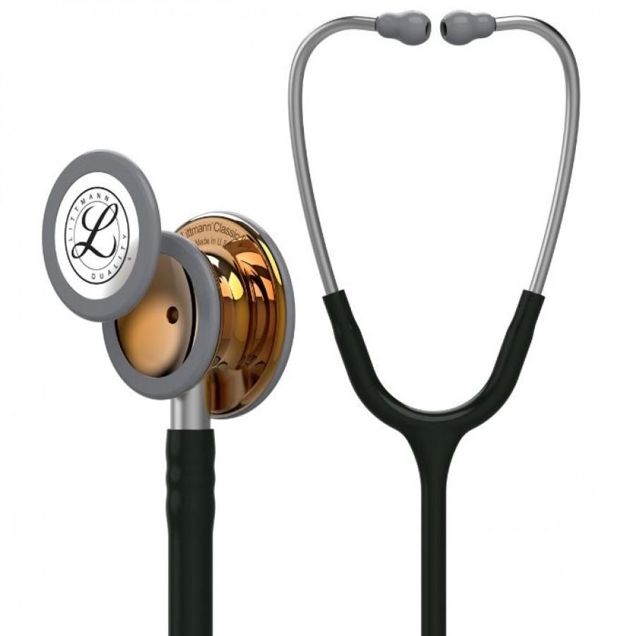 Stetoskop 3M™ Littmann® Classic III™ High Polish Copper, kolekcja limitowana, czarny przewód, srebrna lirra i trzonek + Oryginalne Etui 3M™