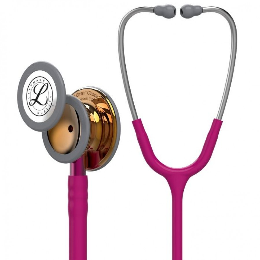 Stetoskop 3M™ Littmann® Classic III™ High Polish Copper, kolekcja limitowana, malinowy przewód,srebrna lirra, różowy trzonek + Oryginalne Etui 3M™