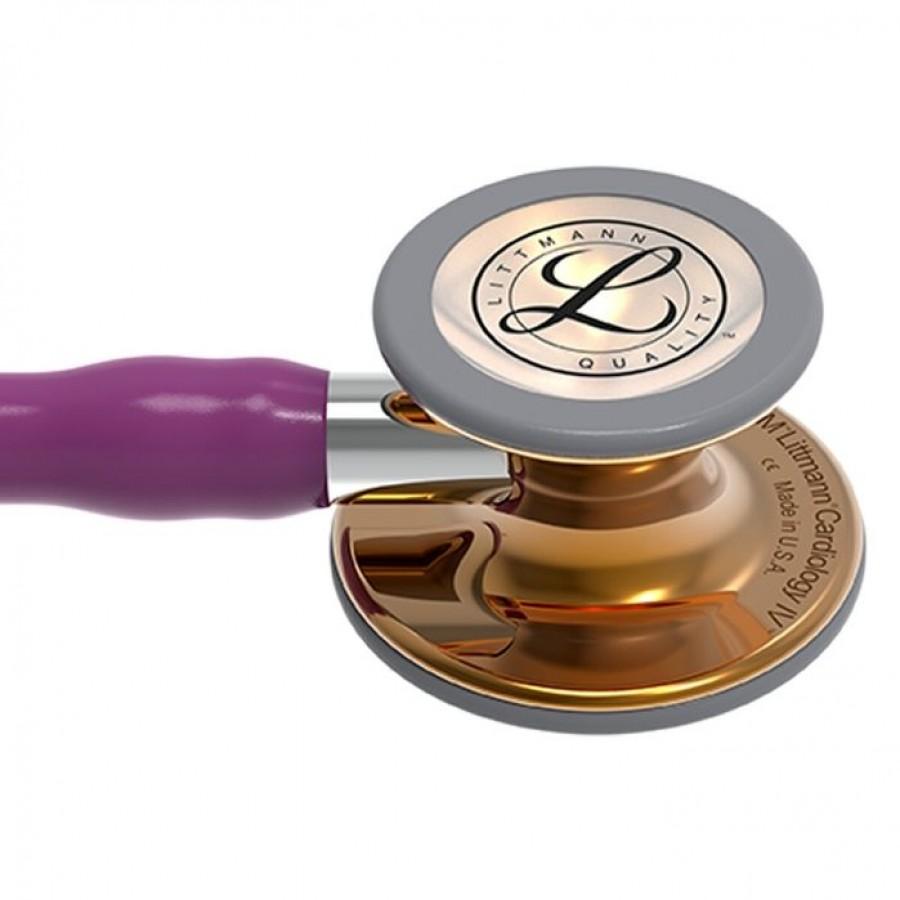 Stetoskop 3M™ Littmann® Cardiology IV™ High Polish Copper, kolekcja limitowana, śliwkowy przewód, lustrzany trzonek, 6181 + Oryginalne Etui 3M™