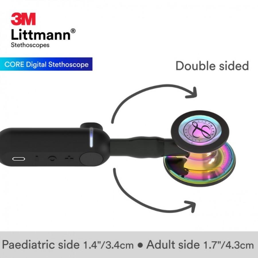 Stetoskop 3M ™ Littmann® CORE Stetoskop cyfrowy, głowica w wykończeniu tęczowym w połysku, czary przewód, trzonek i lira, 8572