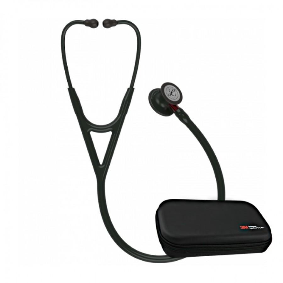 Stetoskop 3M™ Littmann® Cardiology IV™ Black-Finish ( przewód i lira czarny, trzonek czerwony) + Oryginalne Etui 3M™