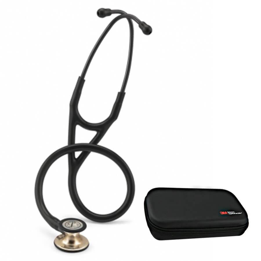 Stetoskop 3M™ Littmann® Cardiology IV™ Champagne-Finish, Czarny, głowica w kolorze szampana + Oryginalne Etui 3M™