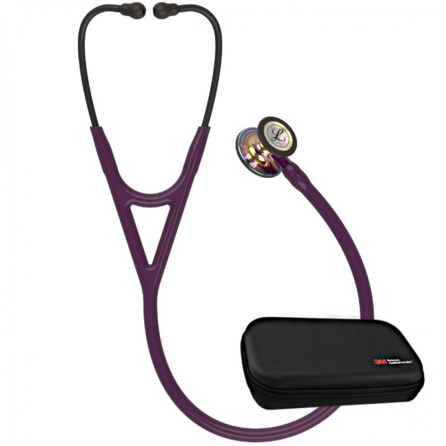 Stetoskop 3M™ Littmann® Cardiology IV™ - Głowica w wykończeniu tęczowym w połysku, przewód śliwkowy, trzonek fioletowy i czarna lira - 6239