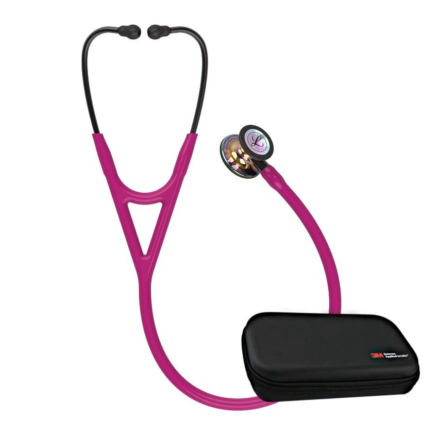 Stetoskop 3M™ Littmann® Cardiology IV™, High Polish Rainbow-Finish , przewód malinowy, trzonek smoke, lira smoke + Oryginalne Etui 3M™