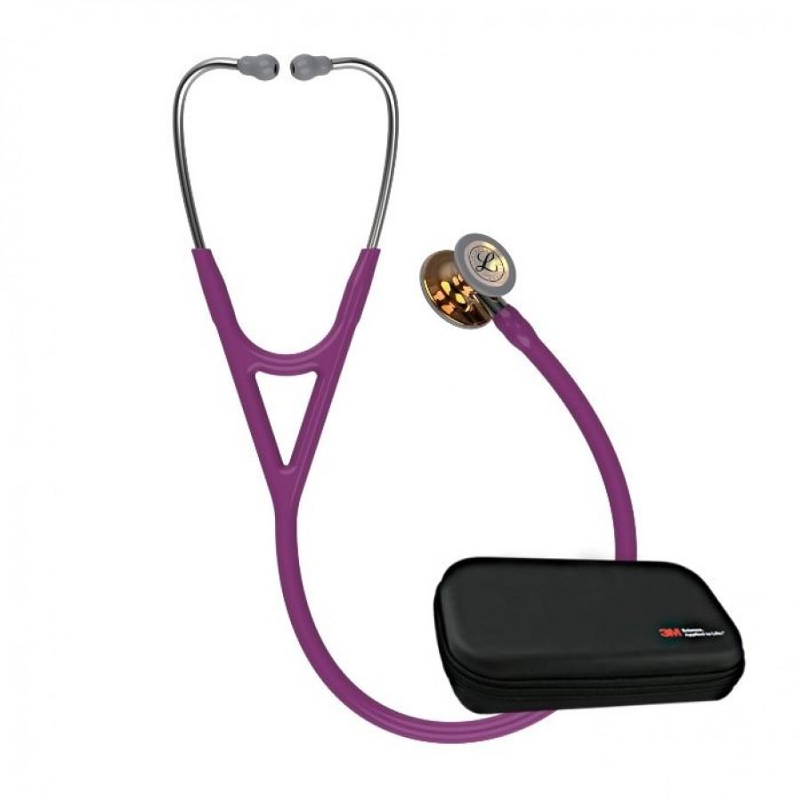 Stetoskop 3M™ Littmann® Cardiology IV™ High Polish Copper, kolekcja limitowana, śliwkowy przewód, lustrzany trzonek + Oryginalne Etui 3M™