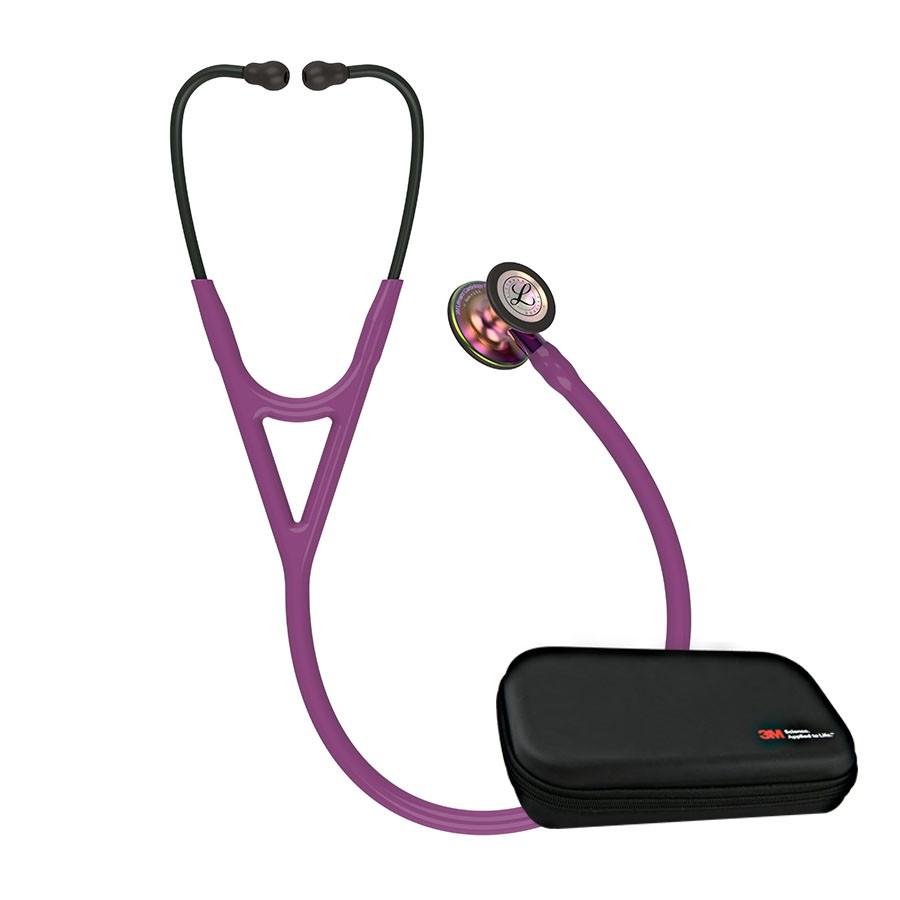 Stetoskop 3M™ Littmann® Cardiology IV™ Rainbow-Finish, przewód śliwkowy, lira czarna, trzonek fioletowy + Oryginalne Etui 3M™