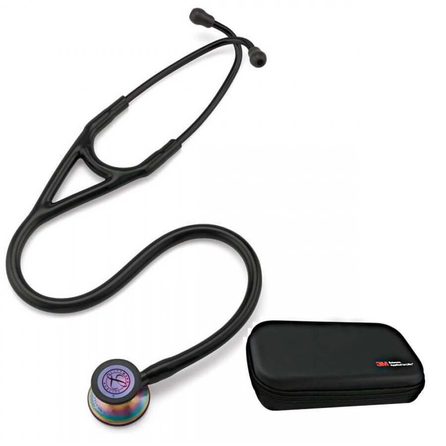 Stetoskop 3M™ Littmann® Cardiology IV™ Rainbow-Finish ( tęczowa głowica, lira i przewód w kolorze czarnym) + Oryginalne Etui 3M™