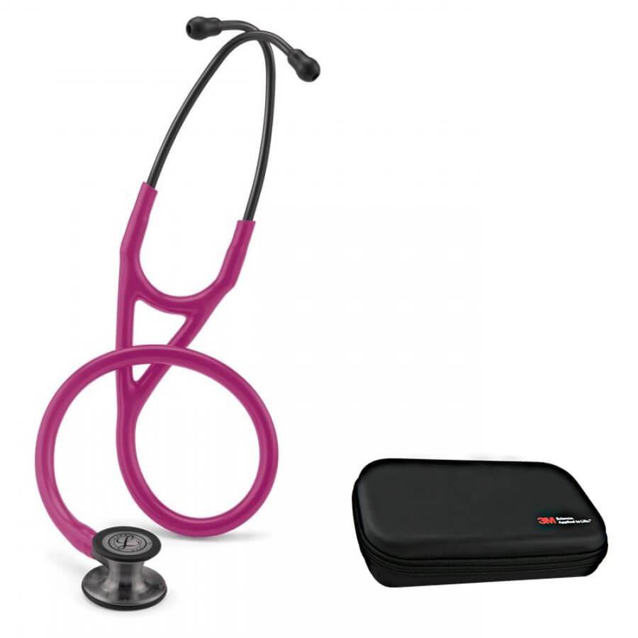 Stetoskop 3M™ Littmann® Cardiology IV™ Smoke-Finish, przewód w kolorze malinowym + Oryginalne Etui 3M™