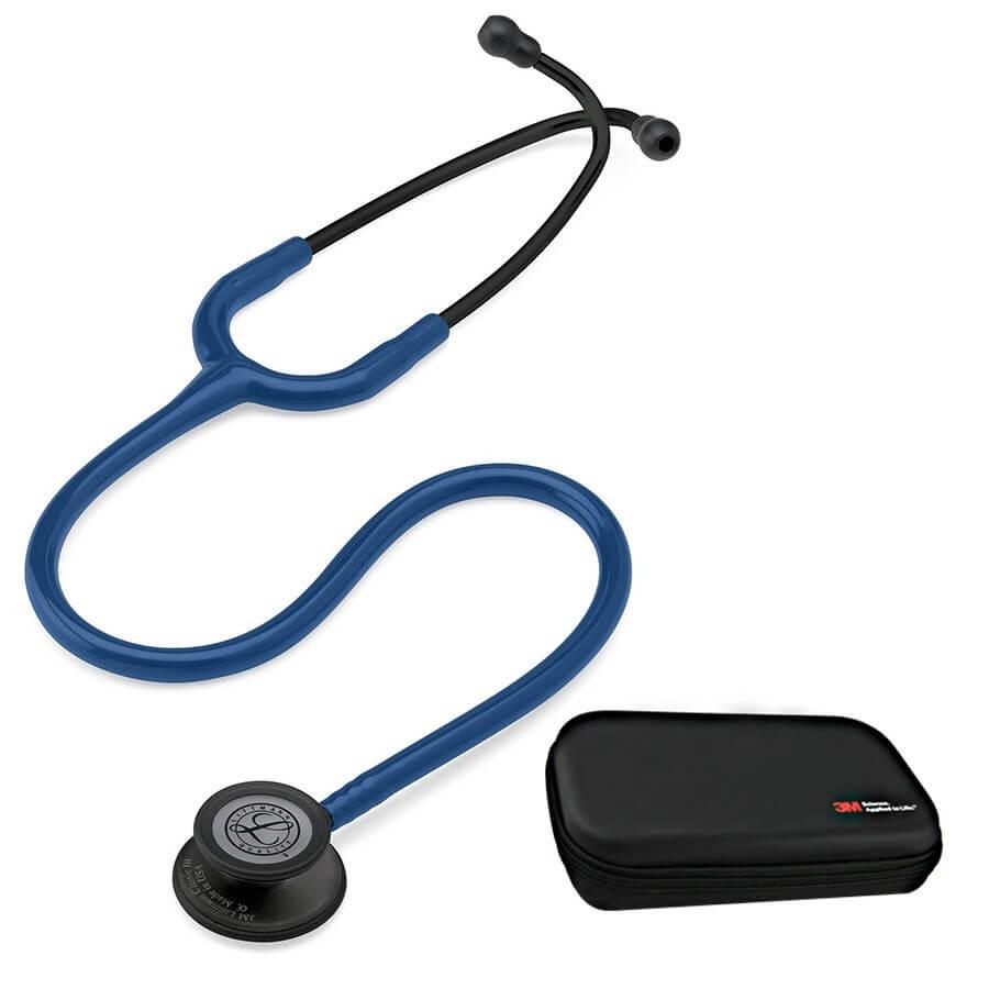 Stetoskop 3M™ Littmann® Classic III™,  BLACK EDTTION  (czarna lira i głowica), Granatowy + Oryginalne Etui 3M™