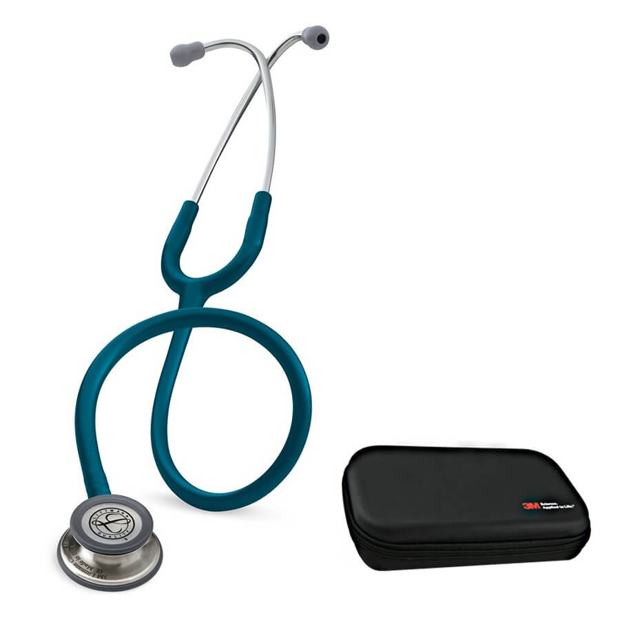 Stetoskop 3M™ Littmann® Classic III™, głowica ze standardowym wykończeniem, przewód w kolorze błękit karaibski + Oryginalne Etui 3M™