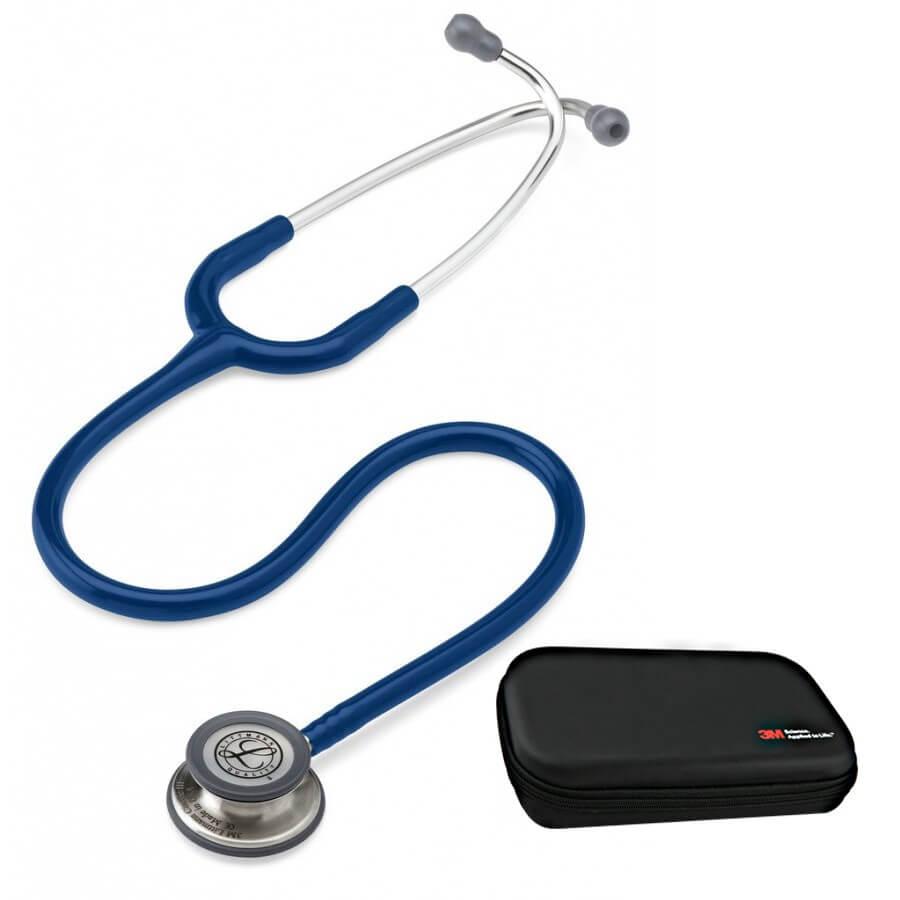 Stetoskop 3M™ Littmann® Classic III™, głowica ze standardowym wykończeniem, przewód w kolorze granatowym + Oryginalne Etui 3M™