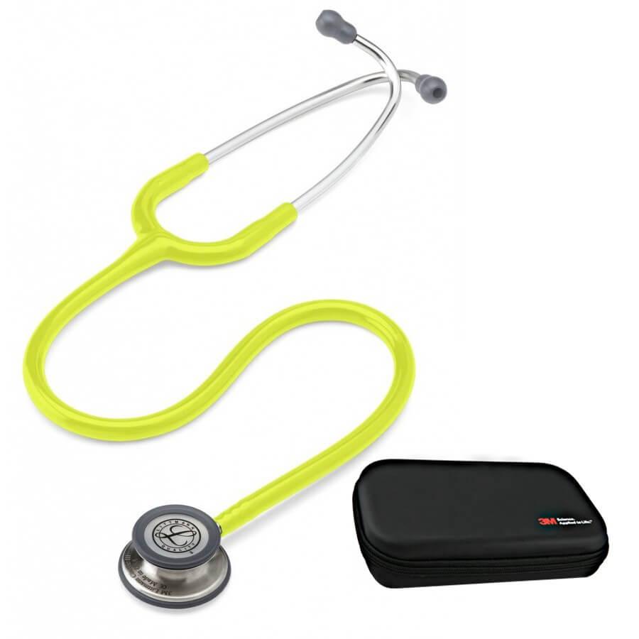 Stetoskop 3M™ Littmann® Classic III™, głowica ze standardowym wykończeniem, przewód w kolorze limonki + Oryginalne Etui 3M™