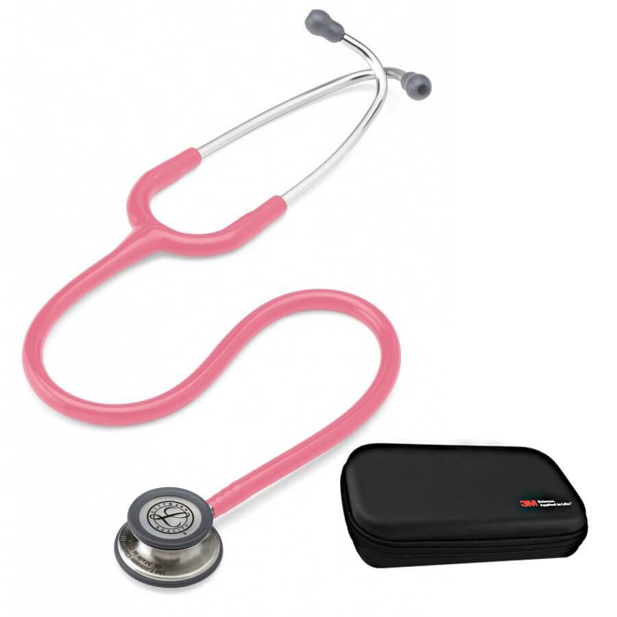 Stetoskop 3M™ Littmann® Classic III™, głowica ze standardowym wykończeniem, przewód w kolorze perłowy różowy + Oryginalne Etui 3M™