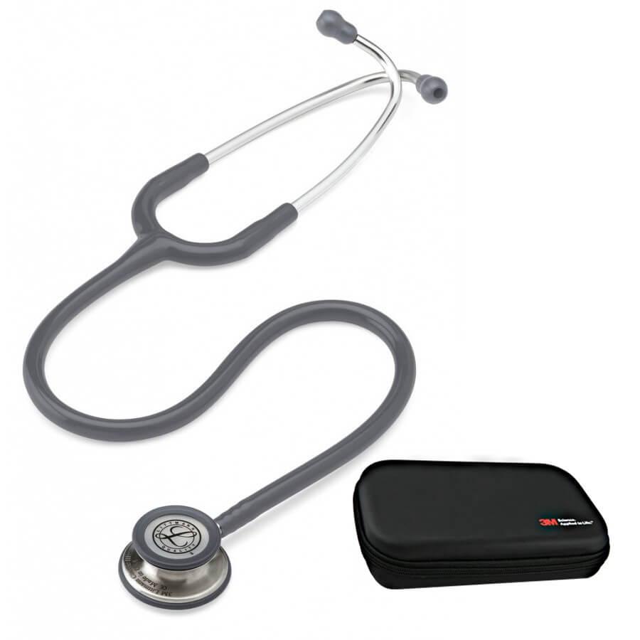 Stetoskop 3M™ Littmann® Classic III™, głowica ze standardowym wykończeniem, przewód w kolorze szarym + Oryginalne Etui 3M™