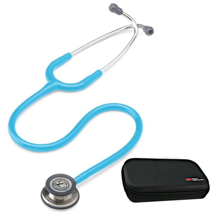 Stetoskop 3M™ Littmann® Classic III™, głowica ze standardowym wykończeniem, przewód w kolorze turkusowym + Oryginalne Etui 3M™
