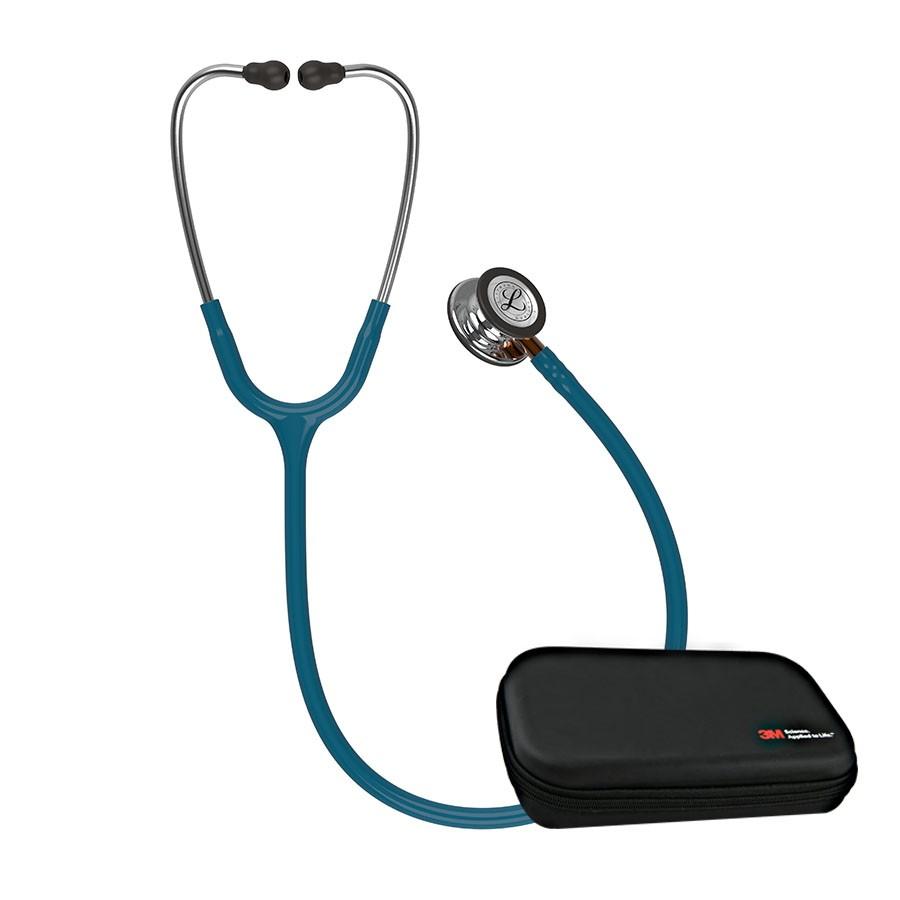 Stetoskop 3M™ Littmann®  Classic III™ Mirror, przewód błękit karaibski, lira stalowa, trzonek pomarańczowy+ Oryginalne Etui 3M™