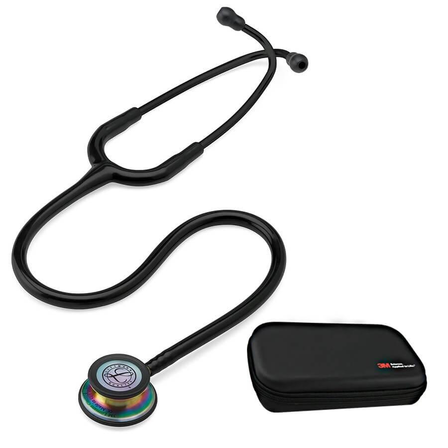 Stetoskop 3M™ Littmann® Classic III™,  RAINBOW EDITION  (tęczowa lira i głowica), Czarny + Oryginalne Etui 3M™