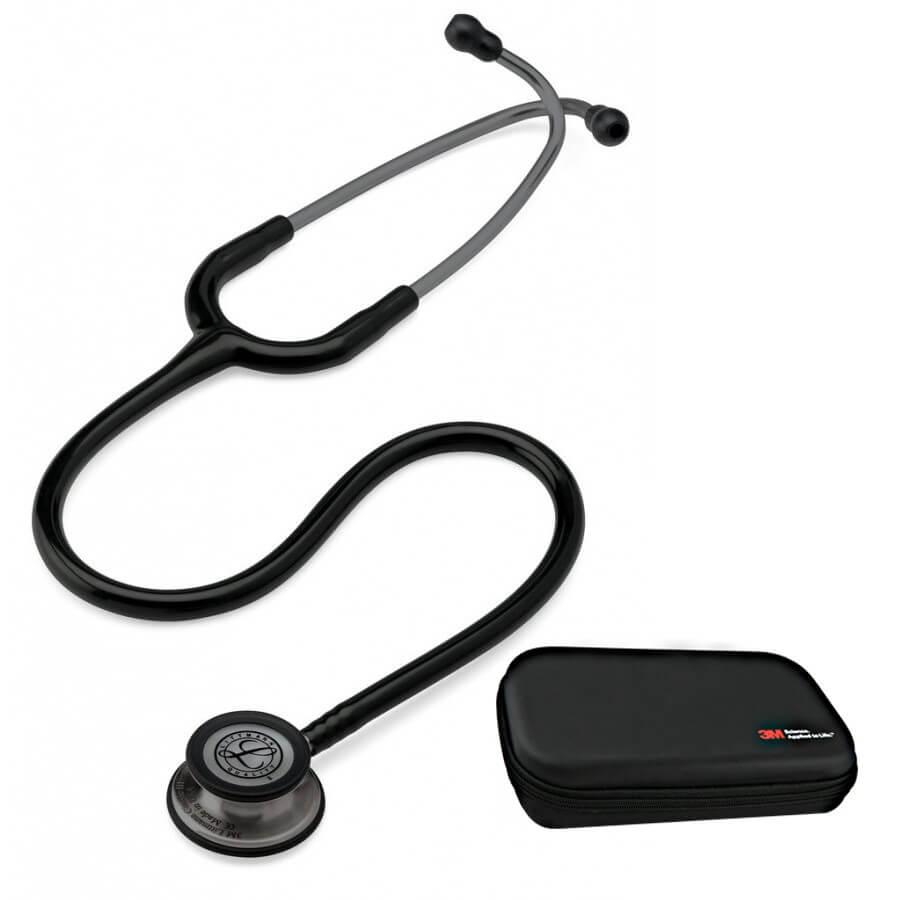Stetoskop 3M™ Littmann® Classic III™, SMOKE  (ciemnoszara, matowa lira i głowica + czarny przewód) + Oryginalne Etui 3M™