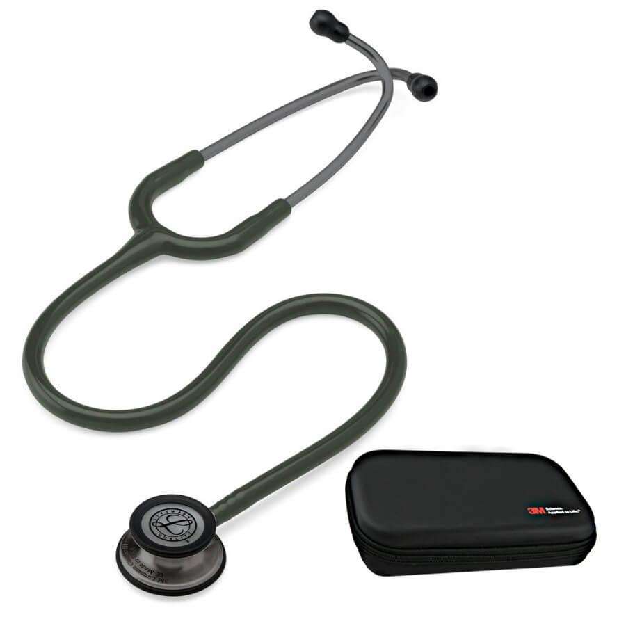 Stetoskop 3M™ Littmann® Classic III™,  SMOKE (ciemnoszara, matowa lira i głowica + oliwkowy przewód ) + Oryginalne Etui 3M™