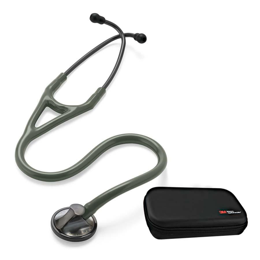 Stetoskop 3M™ Littmann® Master Cardiology SMOKE EDITION - (ciemnoszara, matowa lira i głowica + oliwkowy przewód) + Oryginalne Etui 3M™